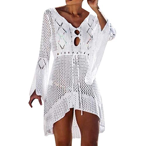 - Women Solid Color Crochet Sunscreen Cover Up Knit Bandage Breathable Hollow Front Swimwear (L, White)