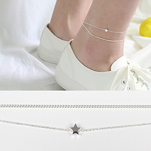 (TKHNE Yu Tong Fang silver s925 sterling silver Foot Chain anklet ankle chain women girls stars simple double foot ornaments Xia Jiqing trendy)