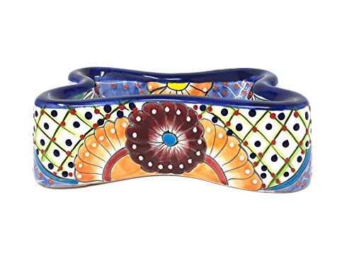 Mexican Talavera Pottery 11 inch Bone Shaped Hand Painted Large Dog Bowl