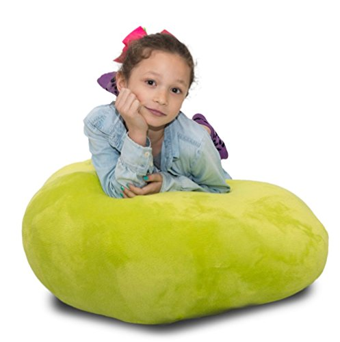 Stuffed Animal Storage Bag Doubles As a Comfy Chair - 6 Colors - Replace Your Mesh Toy Hammock or Net with our Super Soft Organizer that's Functional & Fun [Lime Plush]