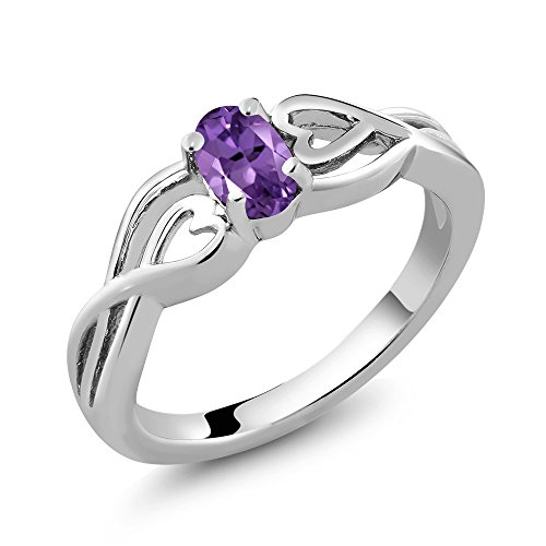 (Gem Stone King Sterling Silver Oval Purple Amethyst Gemstone Birthstone Women's Ring 0.45 cttw (Size 7))