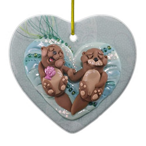 Pattebom Otters in Love Ceramic Christmas Ornaments Novelty for 2018 Christmas Tree Decorations Idea