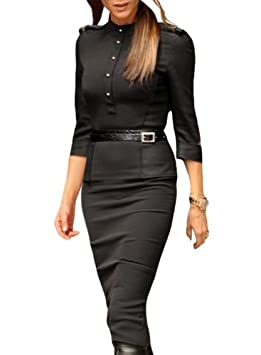 Womens Black Stand-up Collar 3/4 Sleeve Slim Fit Pencil Dresses / Apparel