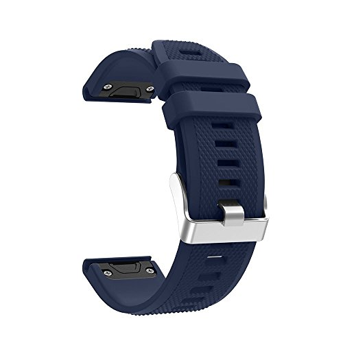 For Garmin Fenix 5 Band,Quick Release 22mm Silicone Smart Watch Replacement Silver Metal Buckle Strap for Garmin Fenix 5/Fenix 5 Sapphire/Forerunner 935 (Midnight Blue, 22mm For Fenix 5)