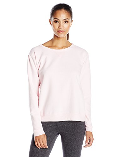 Hanes Women's V-Notch Pullover Fleece Sweatshirt, Pale Pink, M