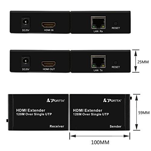 Portta HDMI Extender 120m(395ft) Extensor de HDMI Red Ethernet Sobre RJ45 CAT6/7 UTP Cable Hasta 120m Soporte 1080P y 3D LPCM DTS Dolby para PS3 / PS4 Pro/ ...