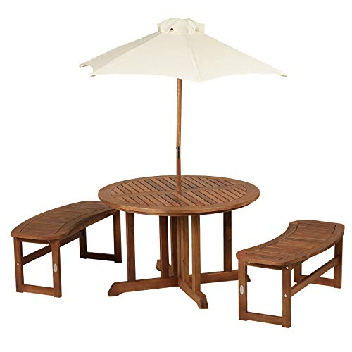 FDInspiration 4Pcs Classic Slatted Wood Outdoor Patio Set Kids Picnic Table Garden Seating w/Benches & Umbrella with Ebook