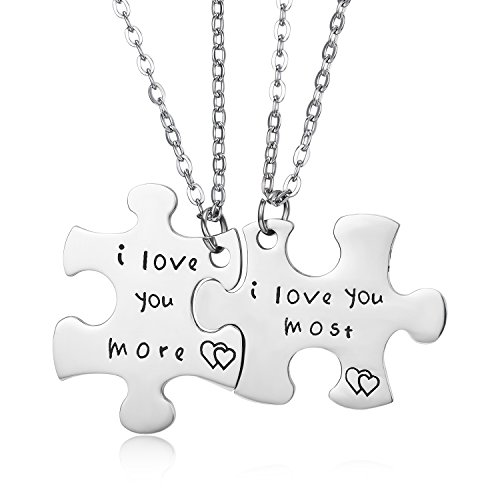 CJ&M Stainless Steel I Love You More I Love You Most Couples Necklaces Set/Couples Keychains,Personalized Couples Jewelry, Boyfriend Girlfriend Gift Jewelry by CJ&M