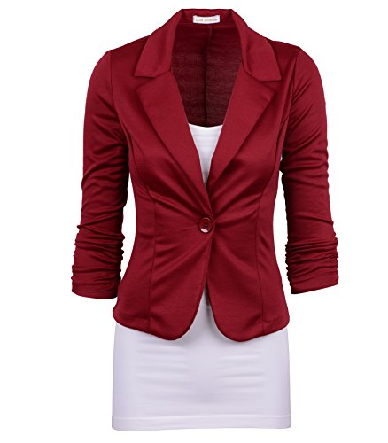 Auliné Collection Women's Casual Work Solid Color Knit Blazer Burgundy Small -
