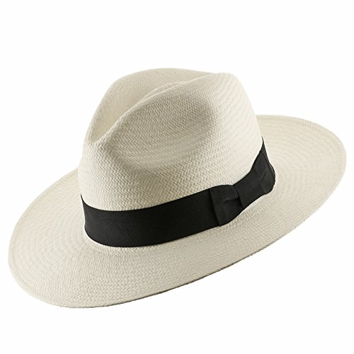 Authentic Classic Fedora Style Straw Panama Hat Handwoven in Ecuador 7 3/8 (Authentic Cowboy Hats)