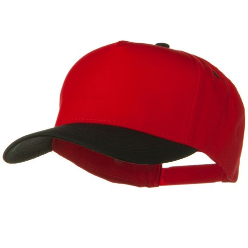 (Cotton Twill Two Tone 5 Panel Prostyle Snap Cap - Black Red)