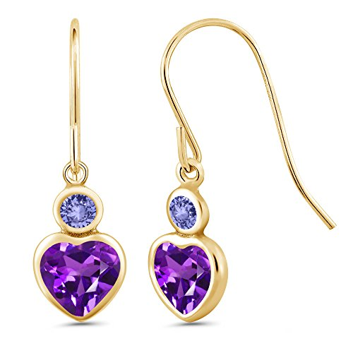 Gem Stone King 1.04 Ct Heart Shape Purple Amethyst Blue Tanzanite 14K Yellow Gold ()