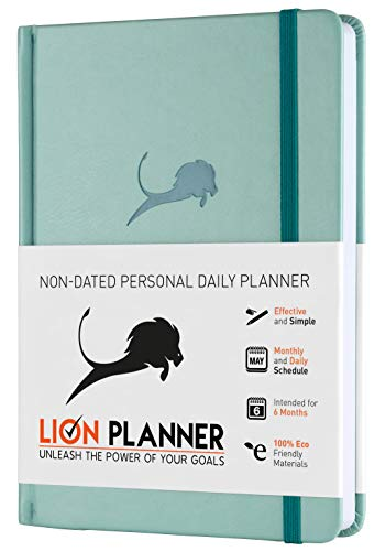 Academic Planner, Calendar and Gratitude Journal to Increase Productivity & Happiness, High Performance Business Planner | Vegan Leather Hardcover 24 Hour a Day Undated 6 Months A5 Planner (Turquoise)