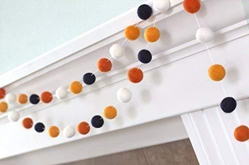 Halloween Felt Ball Garland- Orange, Tangerine, Black & White Autumn Fall Decor -