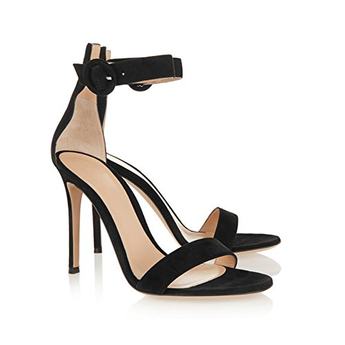 Suede Zapatos EDEFS tacón Mujer Schwarz con xXwBqwpH