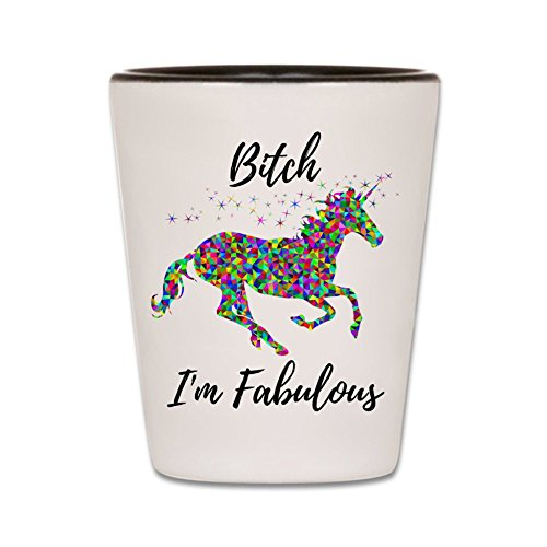 Funny Shot Glass - Unicorn Shotglass - Bitch I'm Fabulous - Ceramic Novelty College Gag Gift For Women - Best Cute Girly Gift For Bachelorette Parties, Wedding Party, and Bridesmaids - 1.5 oz (1) (Cheap Girly Gifts)