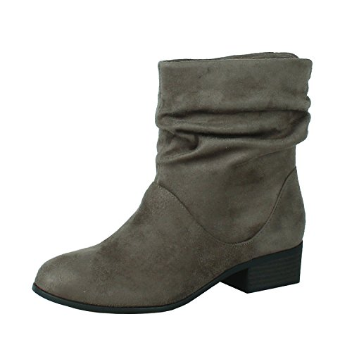 Soda FD58 Women's Slouchy Pull On Low Block Heel Ankle Booties, Color:TAUPE, Size:6 ()