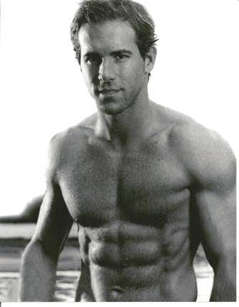 Ryan Reynolds With No Shirt And Six Pack Big Smile Black