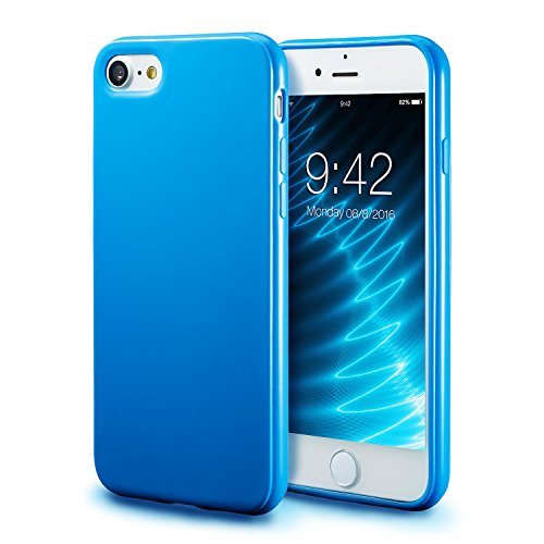 iPhone 7 Blue Case / iPhone 8 Blue Case, technext020 Shockproof Ultra Slim Fit Silicone TPU Soft Gel Rubber Cover Shock Resistance Protective Back Bumper for iPhone 7 / iPhone 8 (Blue Rubber Cover)