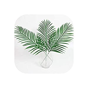 15Pcs Artificial Plastic Leaves Green Plants Fake Palm Tree Leaf Greenery for Floral Flower Arrangement Wedding Decoration 20