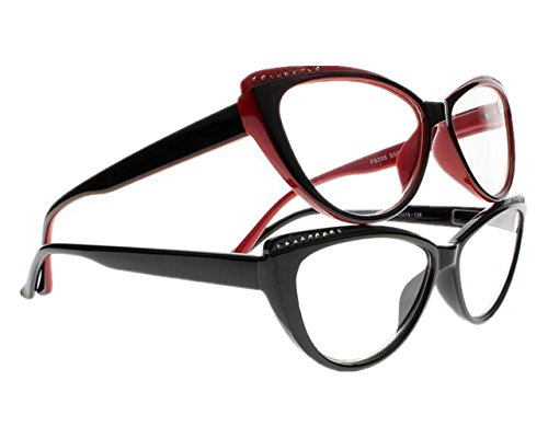 - Women Rhinestone Cat Eye Sexy Vintage Style Clear Lens Reading Glasses Red Black (Black & Red, 4.00)