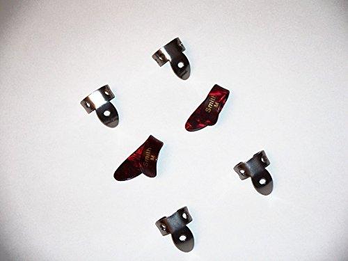 SMITH, NATIONAL; 2 Medium Red Pearloid Thumb 4 NP 1 steel Finger Pick Banjo, Dobro, Steel,Guitar, VWWS