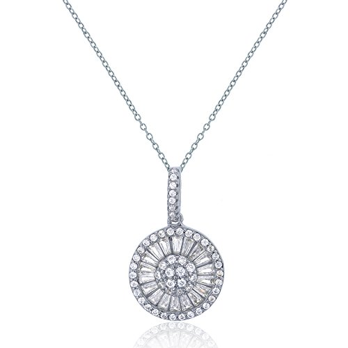 Baguette Round Necklace (Sterling Silver Rhodium 25x15mm Round & Baguette CZ Circle Dangling Pendant)