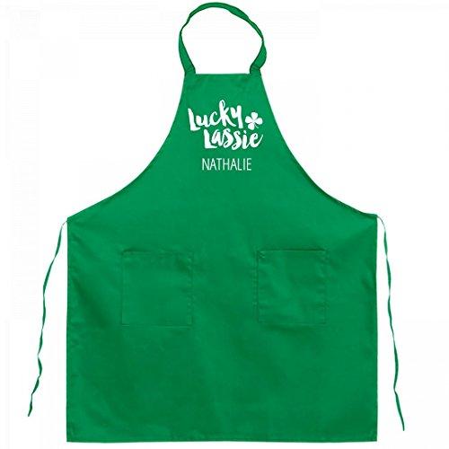 Chef Lucky Lassie Nathalie: Full Length Kelly Green Bib Apron - Nathalie Kelly
