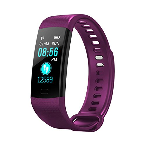 Owill Smart Watch Sports Fitness Activity Heart Rate Tracker Blood Pressure Watch, Fashionable Design and Adjustable Strap (Purple)