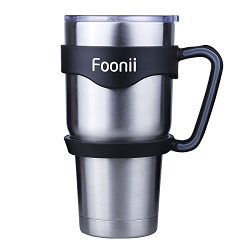 Foonii - Color Anti-Slip Handle for 30 oz YETI Rambler , RTIC and Other 30 ounces Tumblers, Black