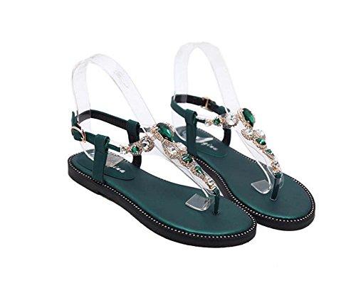 Scarpe Strap 34 Comforty Clip 40 Slingback T Green Eu Donne Beach Belt Toe piatti casual sandali Buckle festa Scarpe Size strass da Zdwf8H
