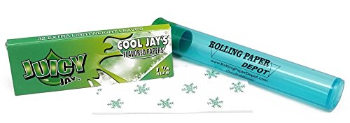 Rolling Menthol Tobacco (Juicy Jay's 1 1/4 Rolling Papers - Cool Jay Menthol Flavored - 1 Pack with RPD Doobtube)