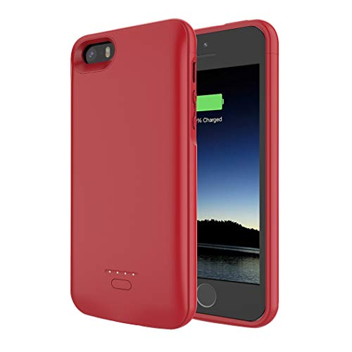 Battery Case for iPhone 5/5S/SE, SNSOU 4000mAh iPhone SE Battery Charging Case for iPhone 5 SE 5S Magnetic Charger Case Protective Backup Power Case Cover for iPhone 5/5s/se -Red [Not fit 5C Model]