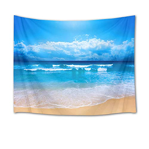 HVEST Ocean Tapestry Sea Water Rush to Tropical Beach Wall Hanging White Cloud and Blue Sky Tapestries for Bedroom Living Room Dorm Party Decor,80Wx60H (Tropical Wall Hanging)