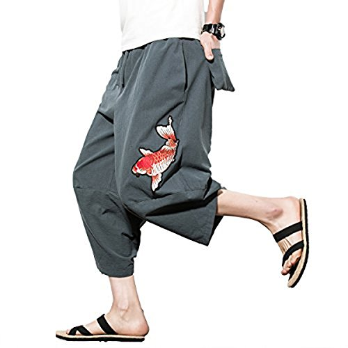 INVACHI Mens Casual Elastic Waist Linen Capri Wide Leg Baggy Harem Pants Trousers with Back Pockets ()