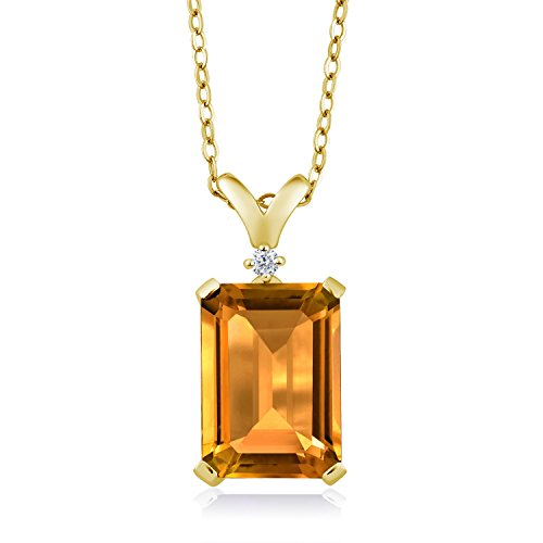 Gem Stone King Yellow Citrine and Diamond 18K Yellow Gold Plated Silver Pendant Necklace 8.22 Ct with 18 Inch Chain