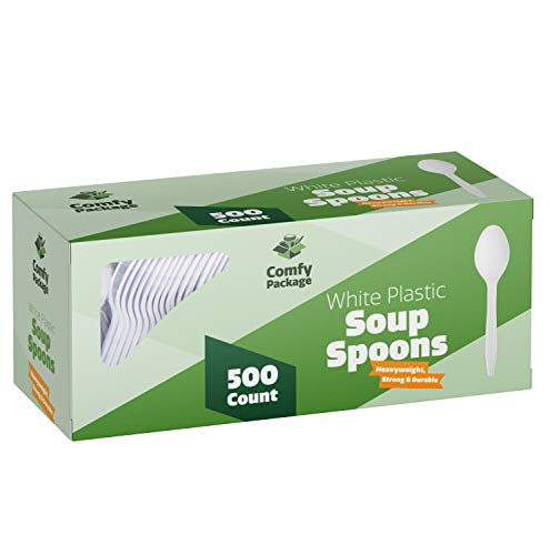 [500 Pack] Extra Heavyweight Disposable White Plastic Soup Spoons -