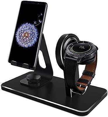 Kmasic Compatible Galaxy Watch 46mm 42mm Gear S3 Soporte del Cargador, Base de Carga Gear S3 Classic Frontier, Base para teléfono Celular (no Incluye ...