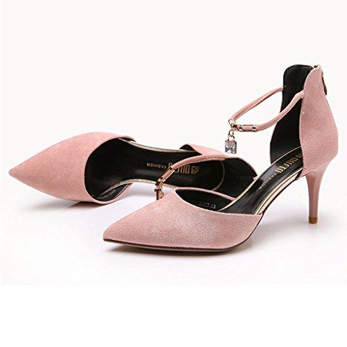 Pendentif HY talons 39 Noir Zipper Strass haut Haute Lady Mode 5 de Rose Chaussures cm 7 Décoration Retour Talons Couleur taille XqrAPxXF