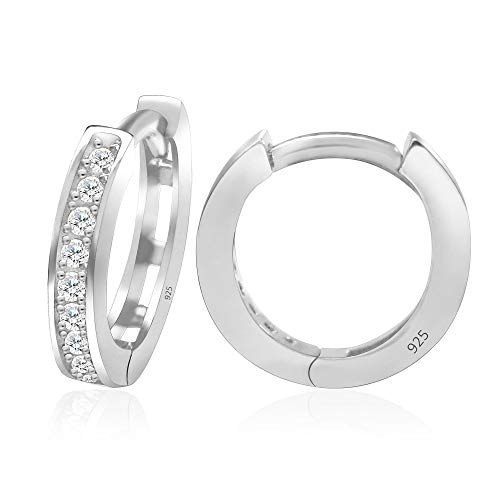 (925 Sterling Silver Cubic Zirconia Small Hoop Huggie Cartilage Earrings Cuff - Small)