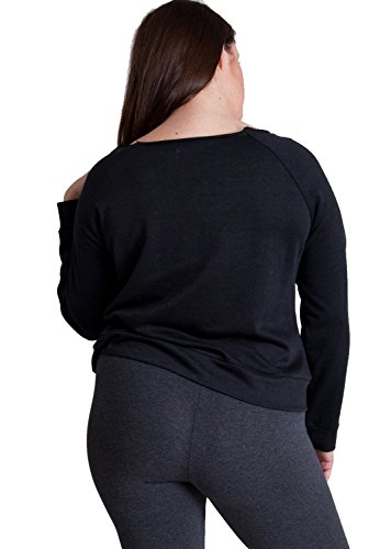 Ladies Charcoal Plus Size Raw Cut Neckline Long Sleeve Sweater Top