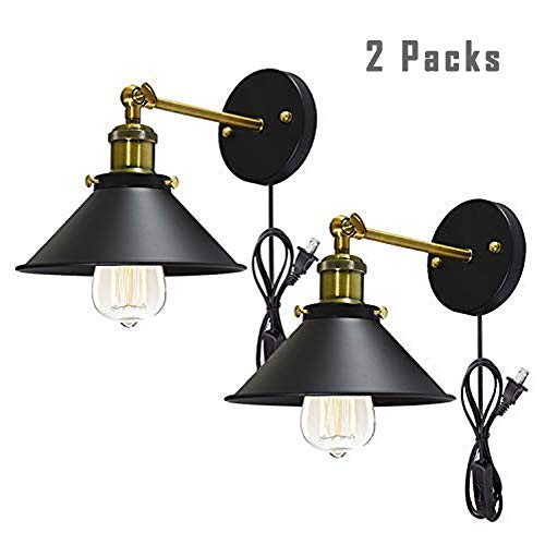 BUYLAND #05 Retro Wall Sconces Light Wall Lamp Plug in Cord with On Off Switch E26 Base Black Wall Industrial Vintage Edison Lamp Fixture Steel