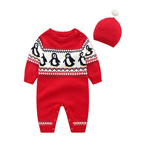 ALLAIBB Baby Boy Girl Christmas Outfit 2Pcs Set Knit Romper Sweater+Cap Costume Size 9-12M (Red Penguin)]()