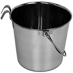 Advance Pet Products Heavy Stainless Steel Flat Side Bucket with Hook, 4-Quart