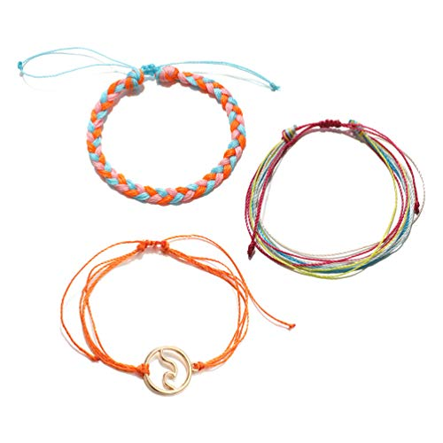 3PC Bohemian Wave Seagull Wool Bracelet,Navy Style Velvet Hand-woven Knit Knot Bracelet Three-piece Suit for Women Girls Holiday Jewelry (F:Orange)