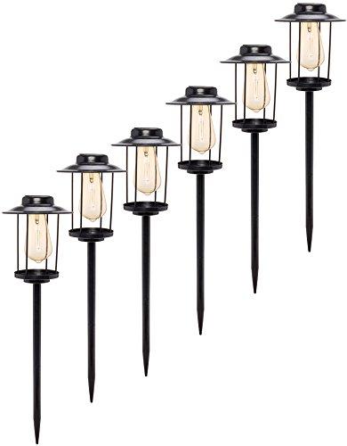 6 Pack Solar Path Lights - Industrial Style Rectangular Stake Light w/ Edison Bulb by GreenLighting (Style Solar Light)