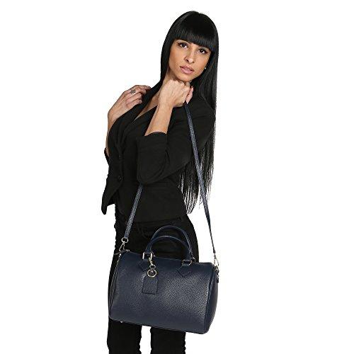 Mano Vera Tracolla Borsa 30x23x18 Handbag In Donna Italy Blu Pelle Con A Cm Made Borse Chicca Da Bauletto qPHz1Xnz