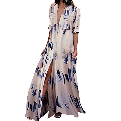 - Women Multicolor Striped Buttons Lapel Half Sleeve Long Dress Casual Cocktail Club Party Robe Dresses Beach Sundress