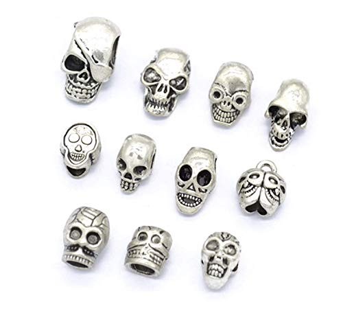 ARTS AND CRAFTS SUPPLIES 11pcs Antique Silver Assorted Style Skeleton Skull Beads Charms Pendants Jewelry Making DIY Castle Dungeon Pirate for Halloween Party Favors, Mini Treasure - Skull Beads Pirate