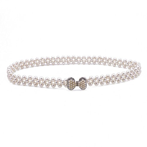 Bow Pearl Clasp (Damara Womens Pearl Link Graceful Bow Clasp Elastic Waist Belt,Silver)